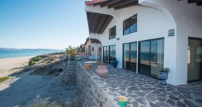 Beachfront Main Casa + paved ramp to beach + beachfront boat garage with guest suite in Punta Chivato